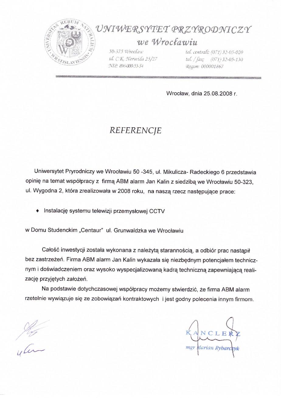 referencje Uniwersytet Przyrodniczy we Wrocławiu CCTV telewizja przemysłowa