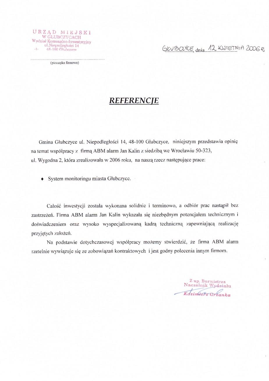 Głubczyce monitoring miejski (telewizja przemysłowa) referencje dla ABMALRAM