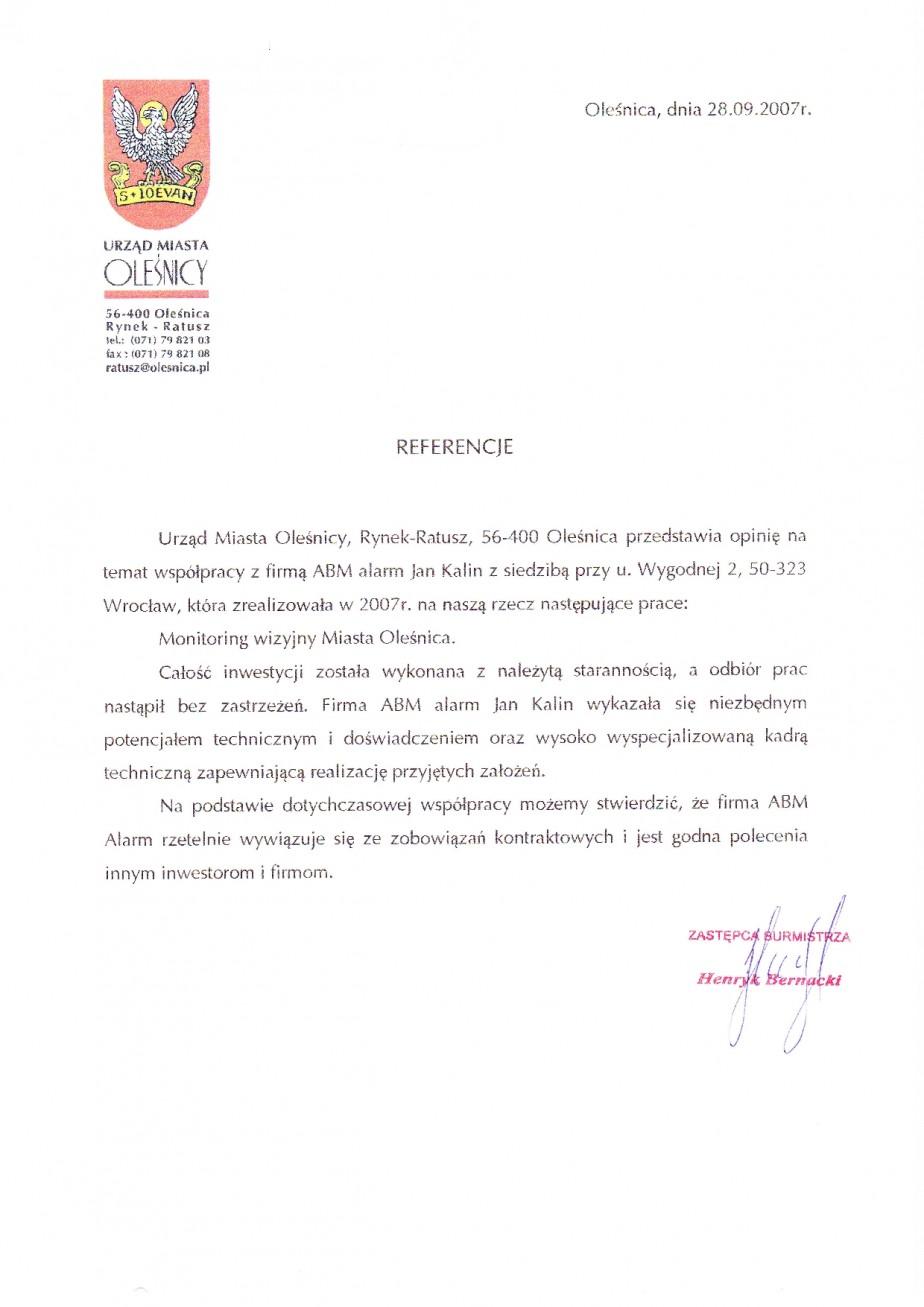 opinia o Monitoring Wizyjny miasta Oleśnica