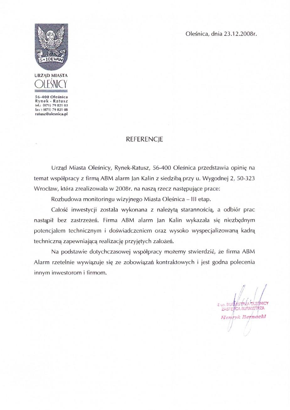 referencje rozbudowa CCTV telewizji przemysłowej monitoring miasta Olesnica