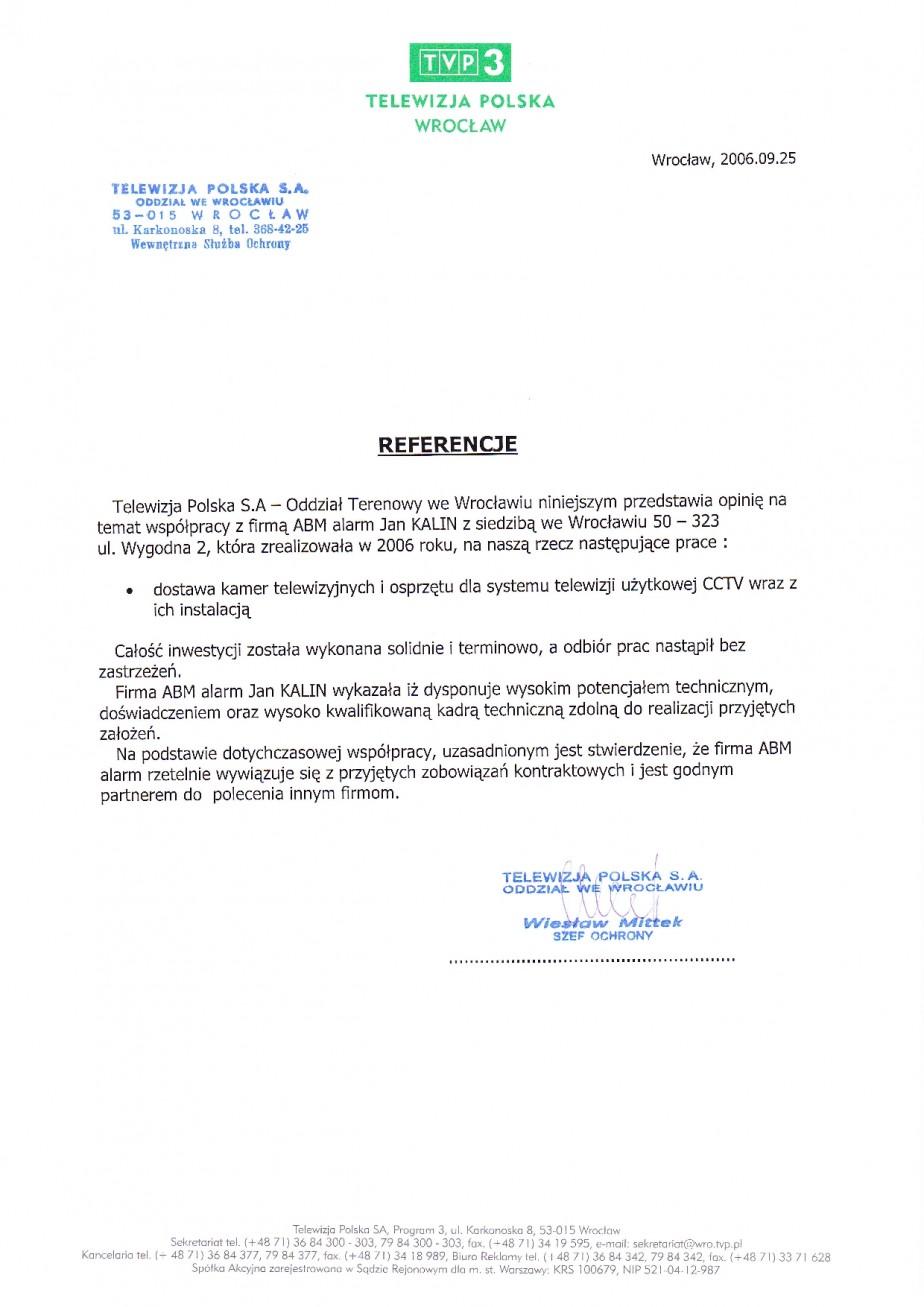 referencje dla ABMALARM z Telewizja Polska dot CCTV (telewizji przemysłowej) dobra opinia