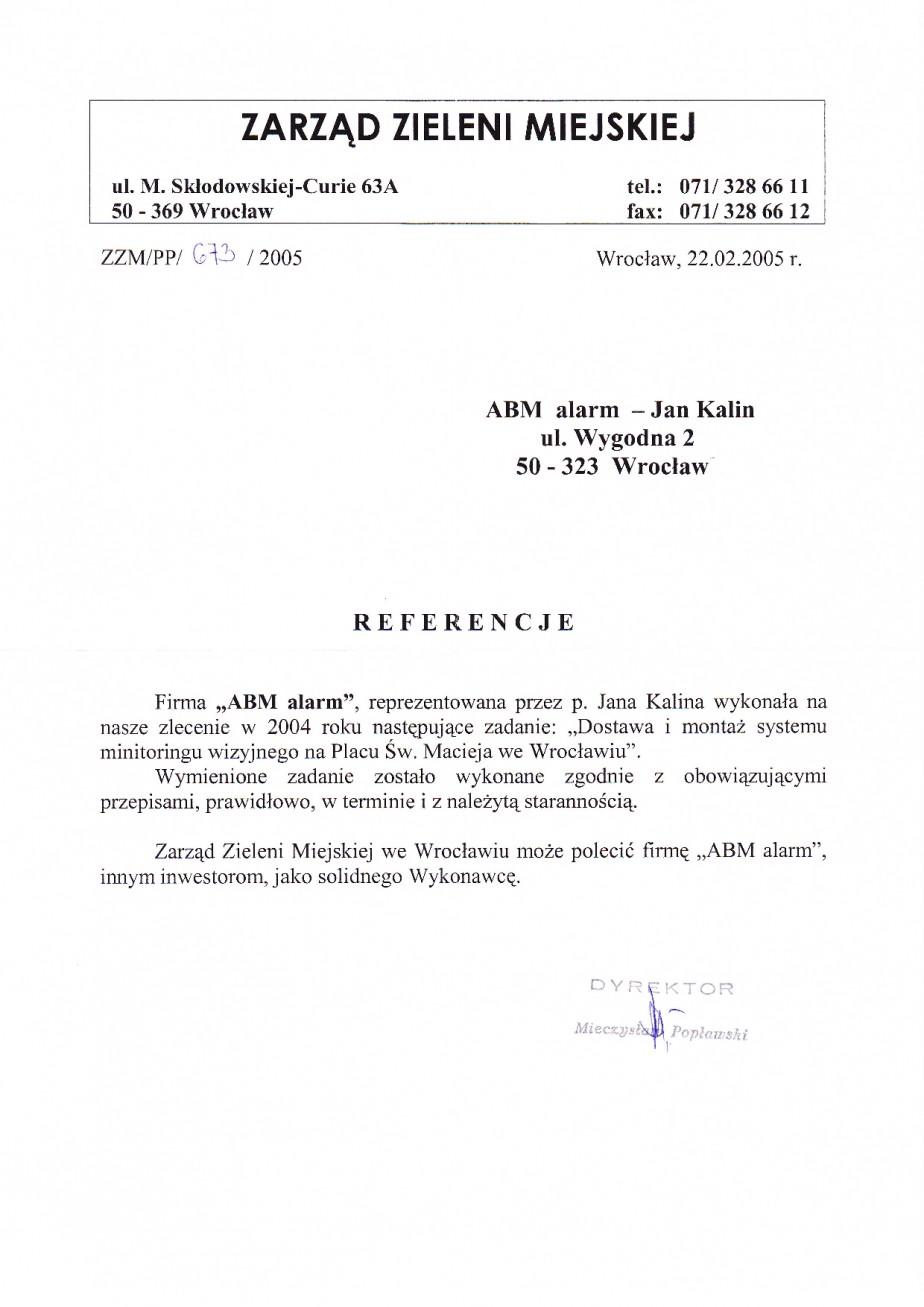 referencje monitorign wizyjny zieleń miejska Wrocław