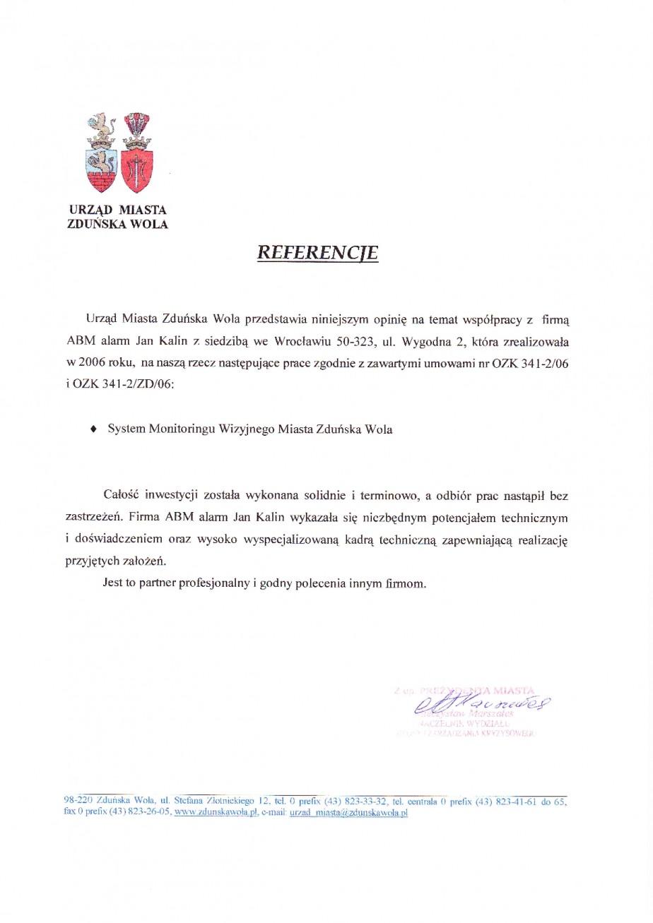 referencje urzędu miasta Zduńska Wola dla ABMALARM wykonanie monitoringu miasta (CCTV) telewizji przemysłowej