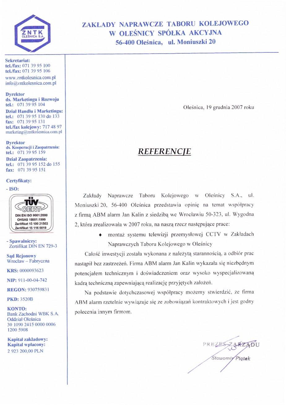 opinia dla ABM ALARM z ZNTK Oleśnica telewizja przemysłowa CCTV