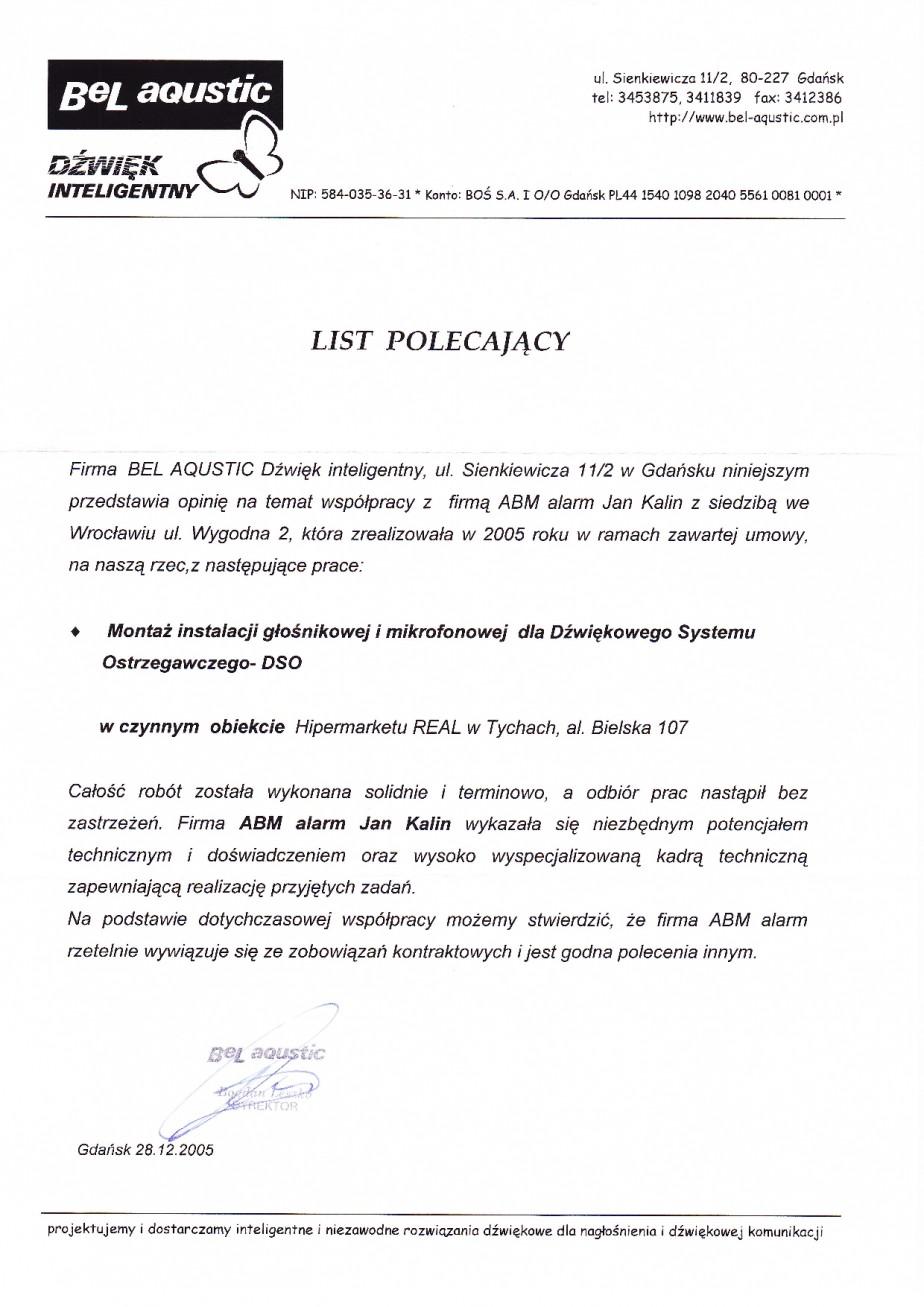 DSO Dźwiękowy System Ostrzegawczy Tychy montaż referencje