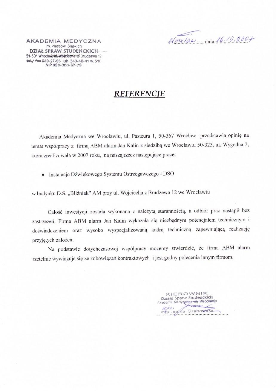 referencje dla ABMALARM Akademia Medyczna wykonanie Dźwiękowego Sytstemu ostrzeegawczego (DSO) dobra opinia