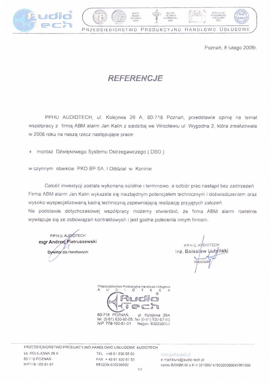 referencje PKO KONIN DSO (Dźwiekowy System Ostrzegawczy)