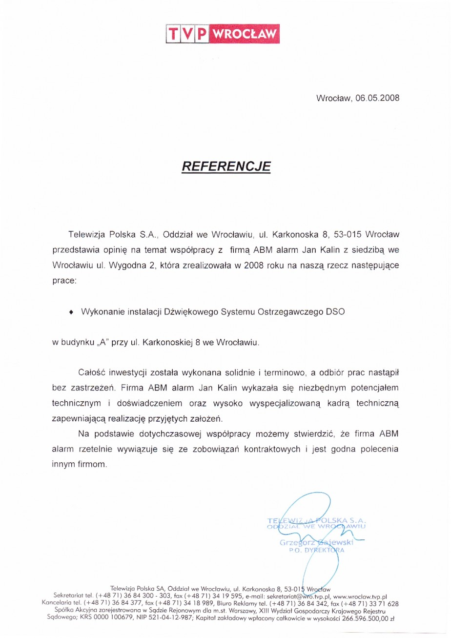 dobra opinia o realizacji Dźwiękowego Systemu Ostrzegawczego (DSO) dla Telewizja Polska