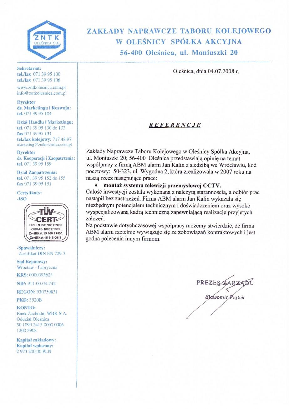 opinia telewizja przemysłowa CCTV (monitoring Wizyjny) ZNTK Oleśnica