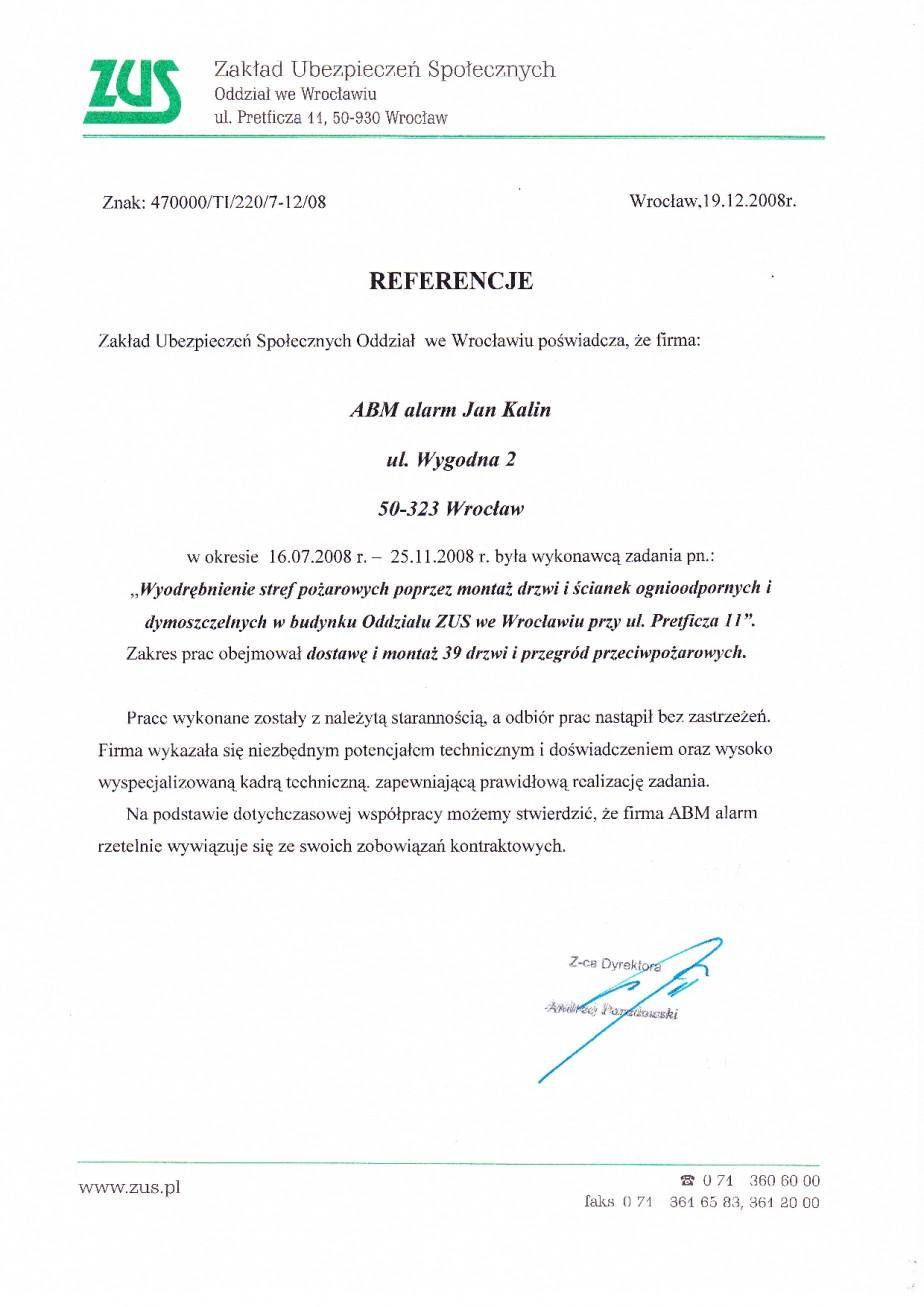 pozytywna opinia dla ABMALARM wydzielenie stref pożarowych (montaż drzwi pożarowych i budowa ścianek oddzielenia) w ZUS