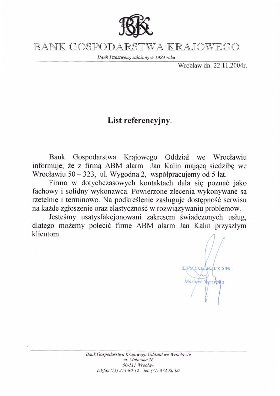 referencje dla ABMALARM wrocław od Banku Gospodarstwa Krajowego Wrocław usługi przeciwpozarowe