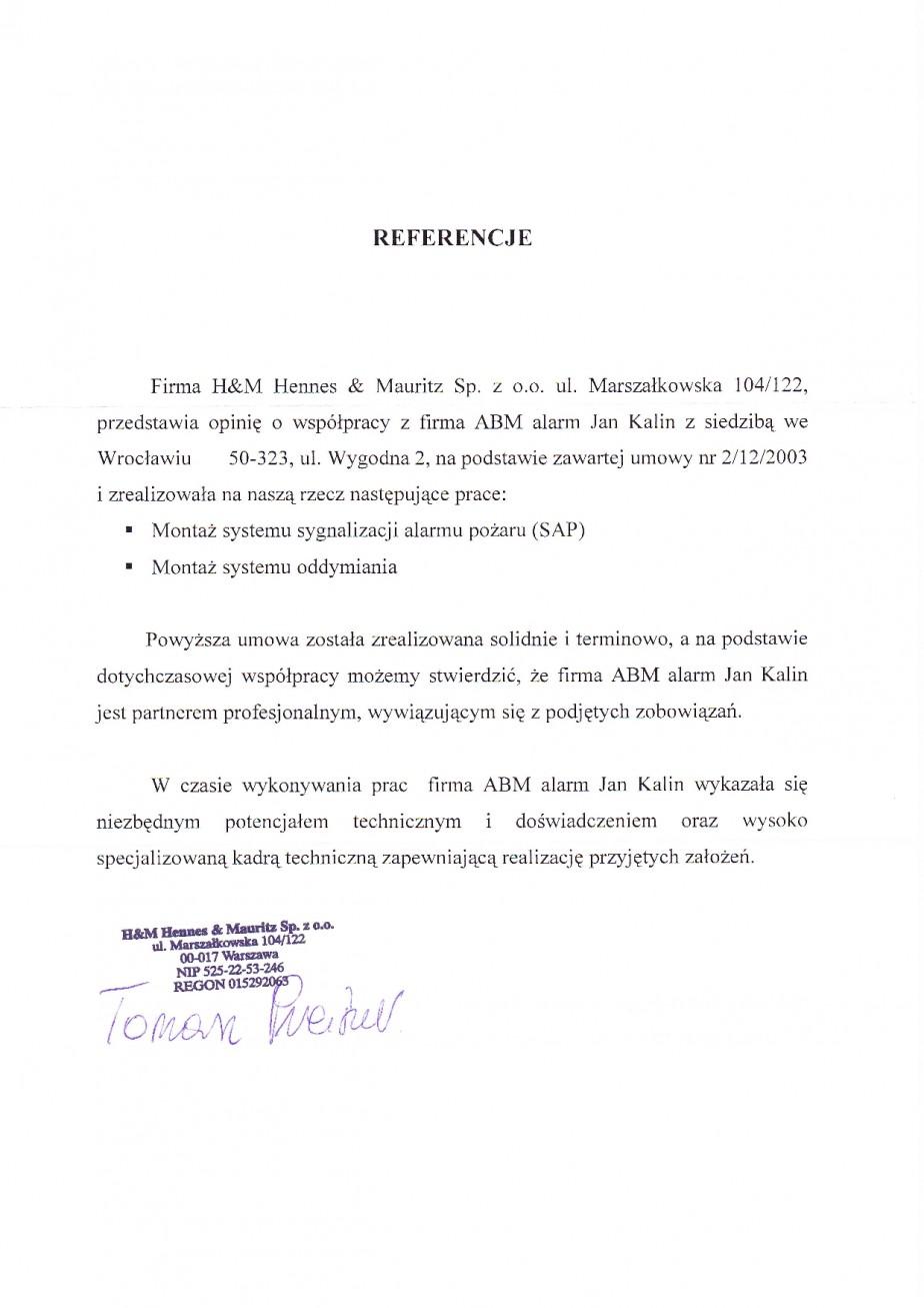 referencje wrocław H&M System Alramu Pożaru SAP i oddymianie Wrocław