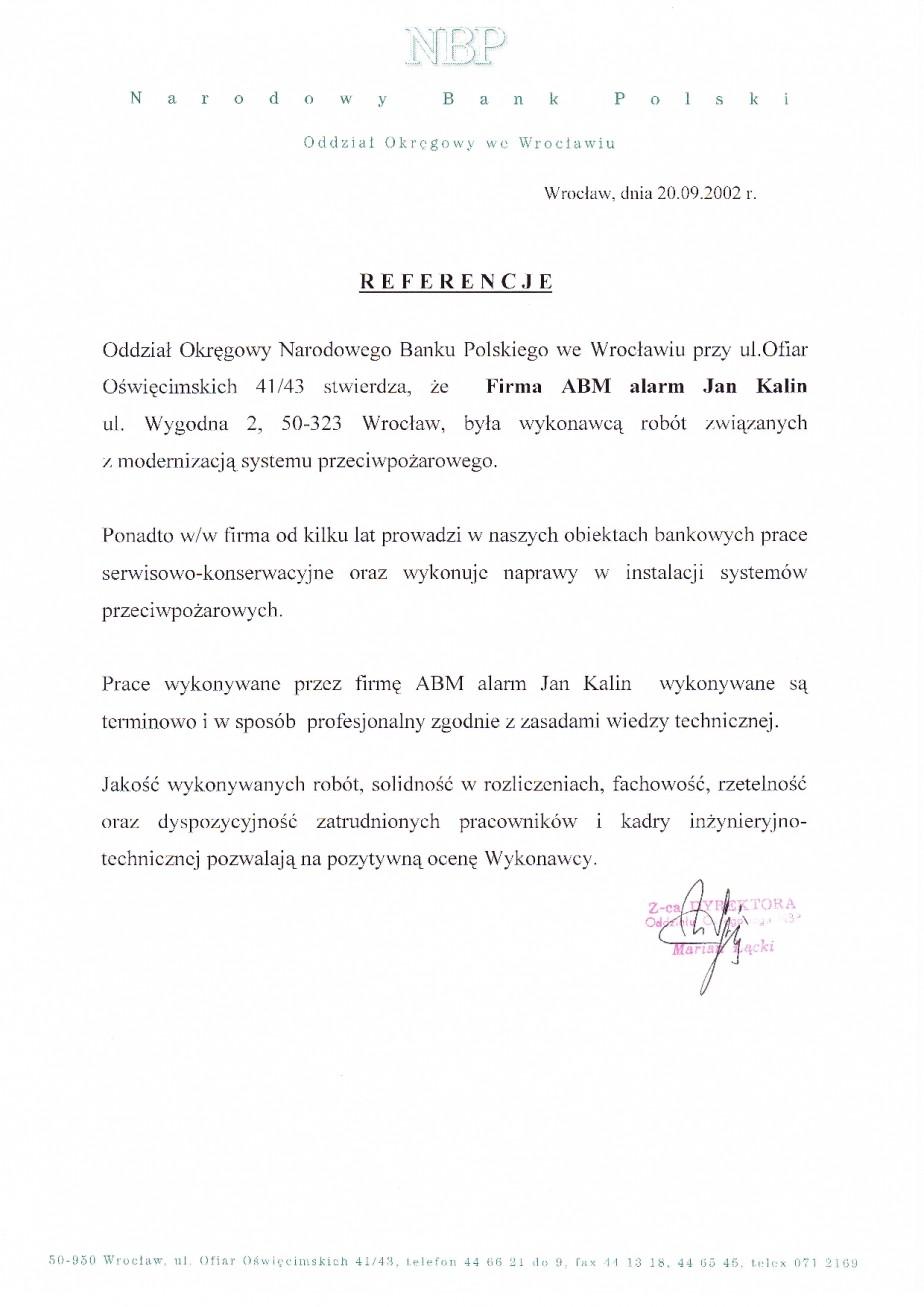 Referencje opinia NBP wrocław systemy przeciwpożarowe, konserwacja, serwis we wrocławiu, solidność, rzetelnosć Jan Kalin