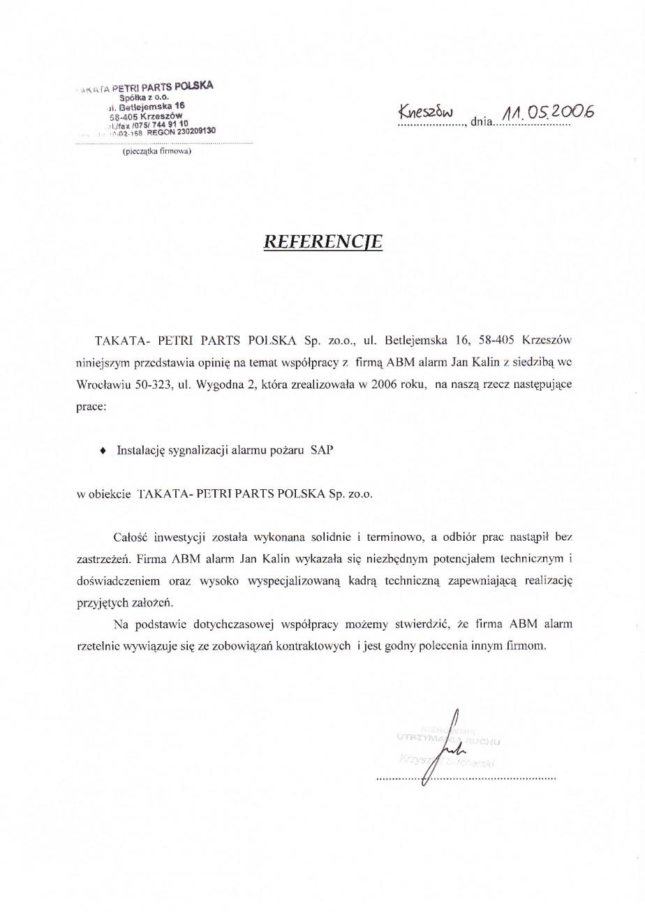 Takata Wrocław System Alarmu Pożaru Wrocław referencje